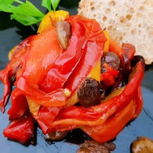 Peperoni con olive taggiasche